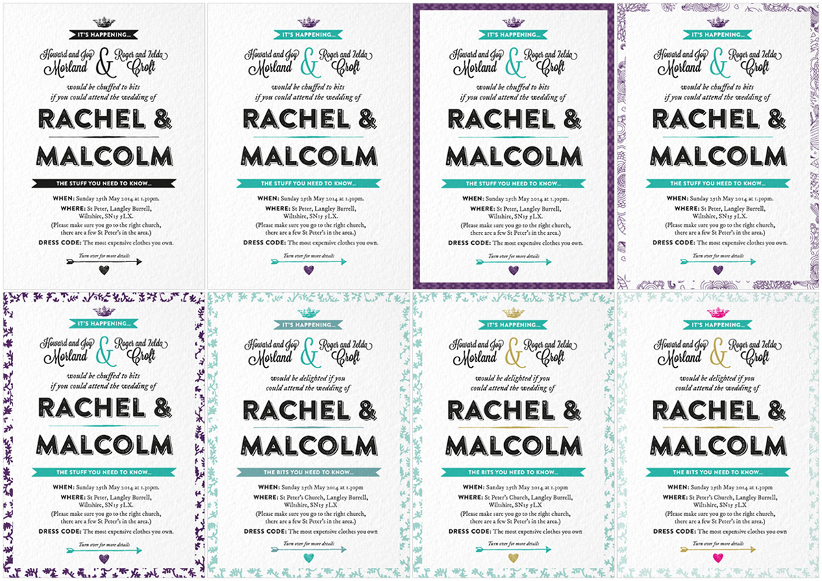 Mals wedding invite variations