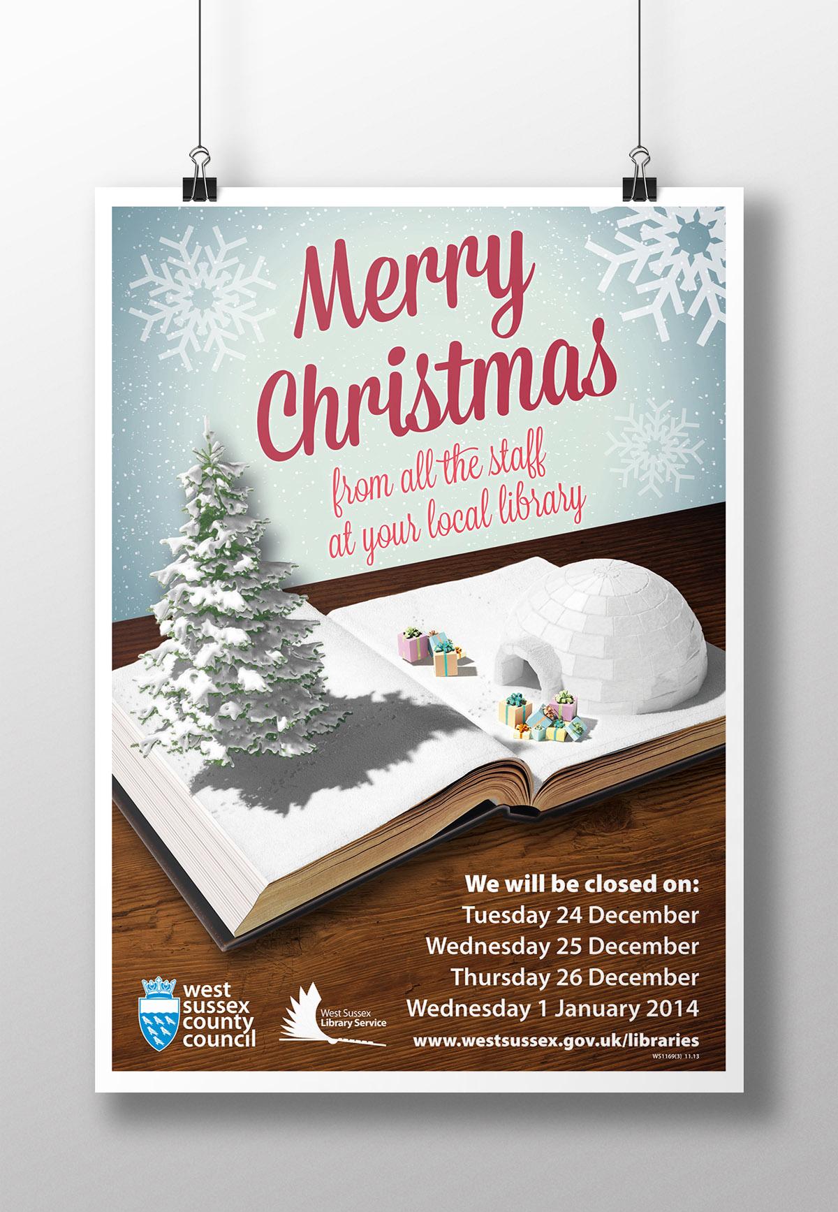 Christmas Library Closure poster mockup NEW
