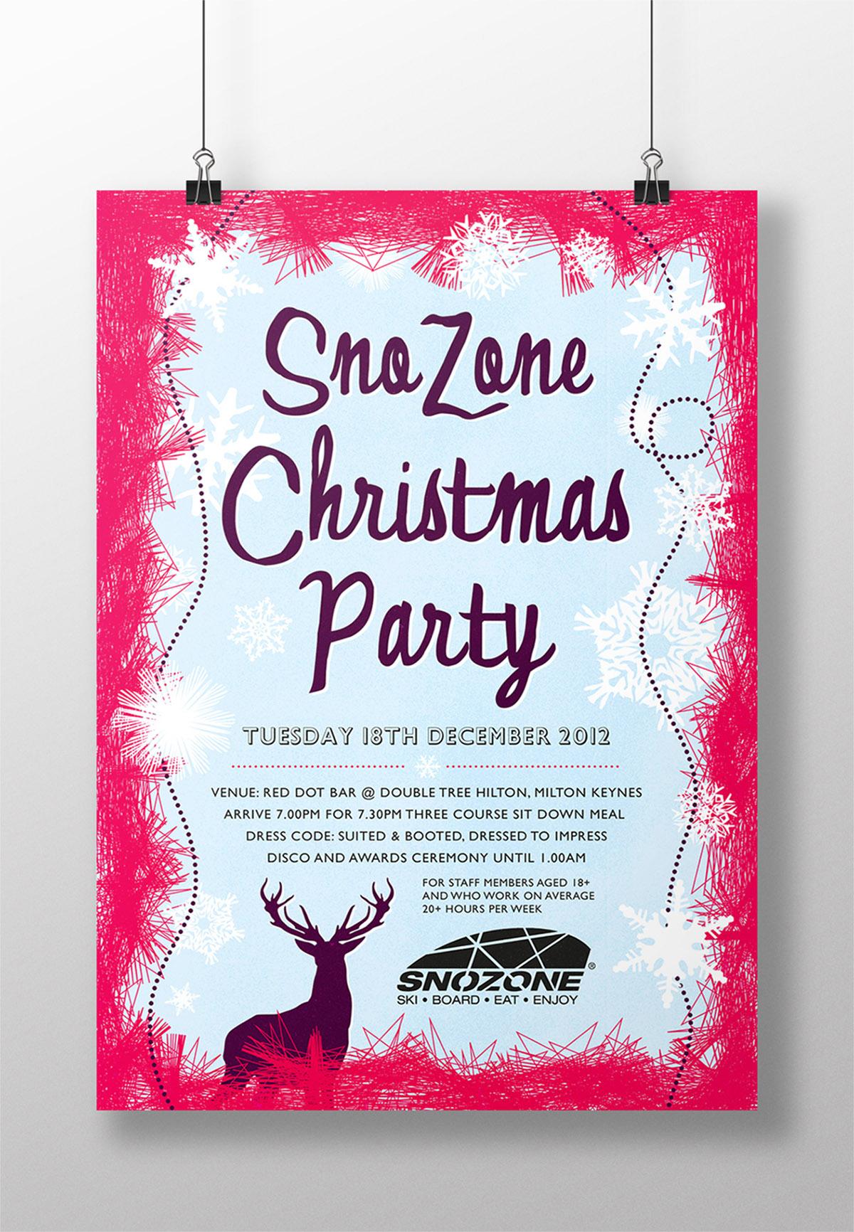 Snozone xmas party poster